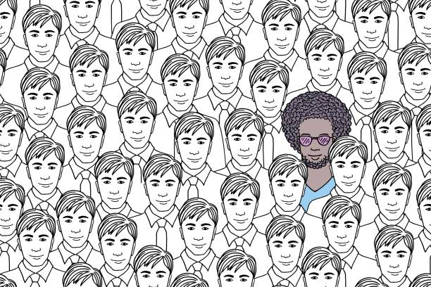 Individual guy standing out from a crowd of identical men Illustration of a single man in the middle of a crowd of identical people, conceptual image protruding stock illustrations