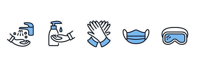 Individual protective equipment flat line icon set blue color. Sanitizer, hand hygiene, gloves, goggles, medical mask
