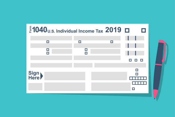 Individual Tax Return Forms with pen Individual Tax Return Forms with pen. Income  document. Forms Tax 1040. Vector illustration flat design. Isolated on  background. List budget. 1040 tax form stock illustrations