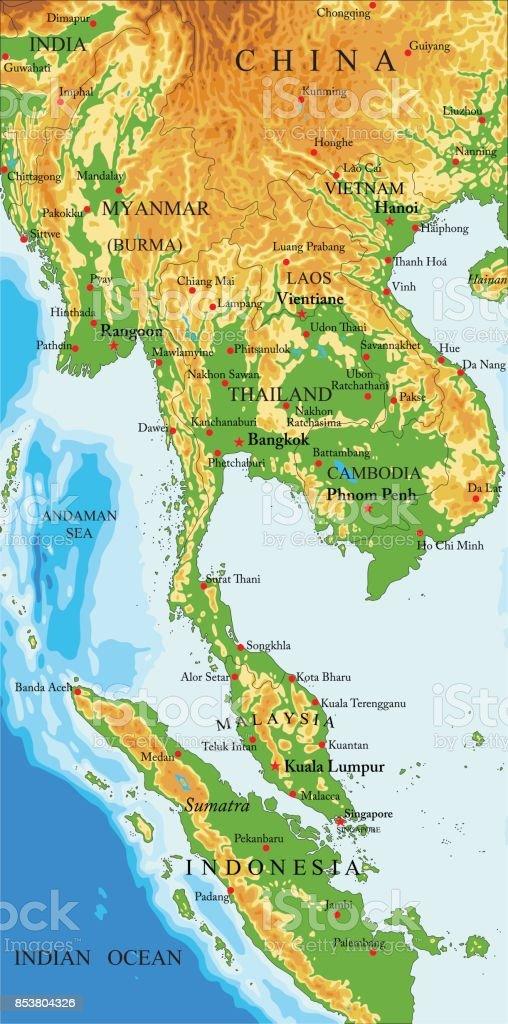 Indonesien Karte Physisch.Physische Karte Von Indochina Stock Vektor Art Und Mehr