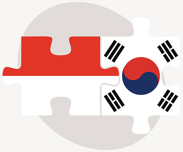 ilustrações, clipart, desenhos animados e ícones de a indonésia e a coreia do sul flags em quebra-cabeça - bandeira da coreia