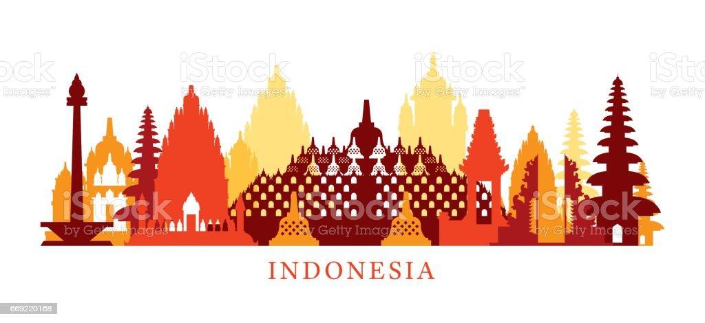 Indonesia Architecture Landmarks Skyline, Shape vector art illustration
