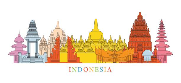 Indonesia Architecture Landmarks Skyline Cityscape, Travel and Tourist Attraction indonesia stock illustrations