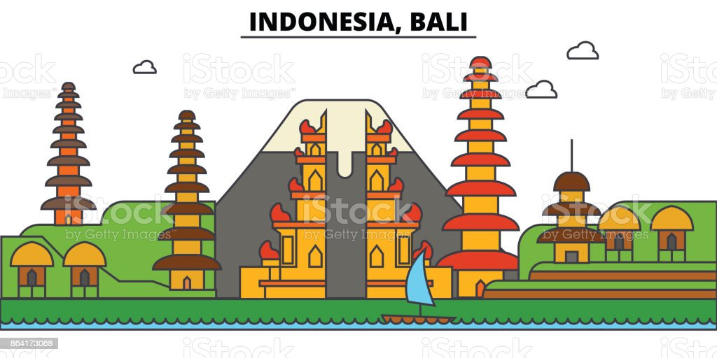 Indonesia, Bali. City skyline architecture, buildings, streets, silhouette, landscape, panorama, landmarks. Editable strokes. Flat design line vector illustration concept. Isolated icons set royalty-free indonesia bali city skyline architecture buildings streets silhouette landscape panorama landmarks editable strokes flat design line vector illustration concept isolated icons set stock vector art & more images of apartment