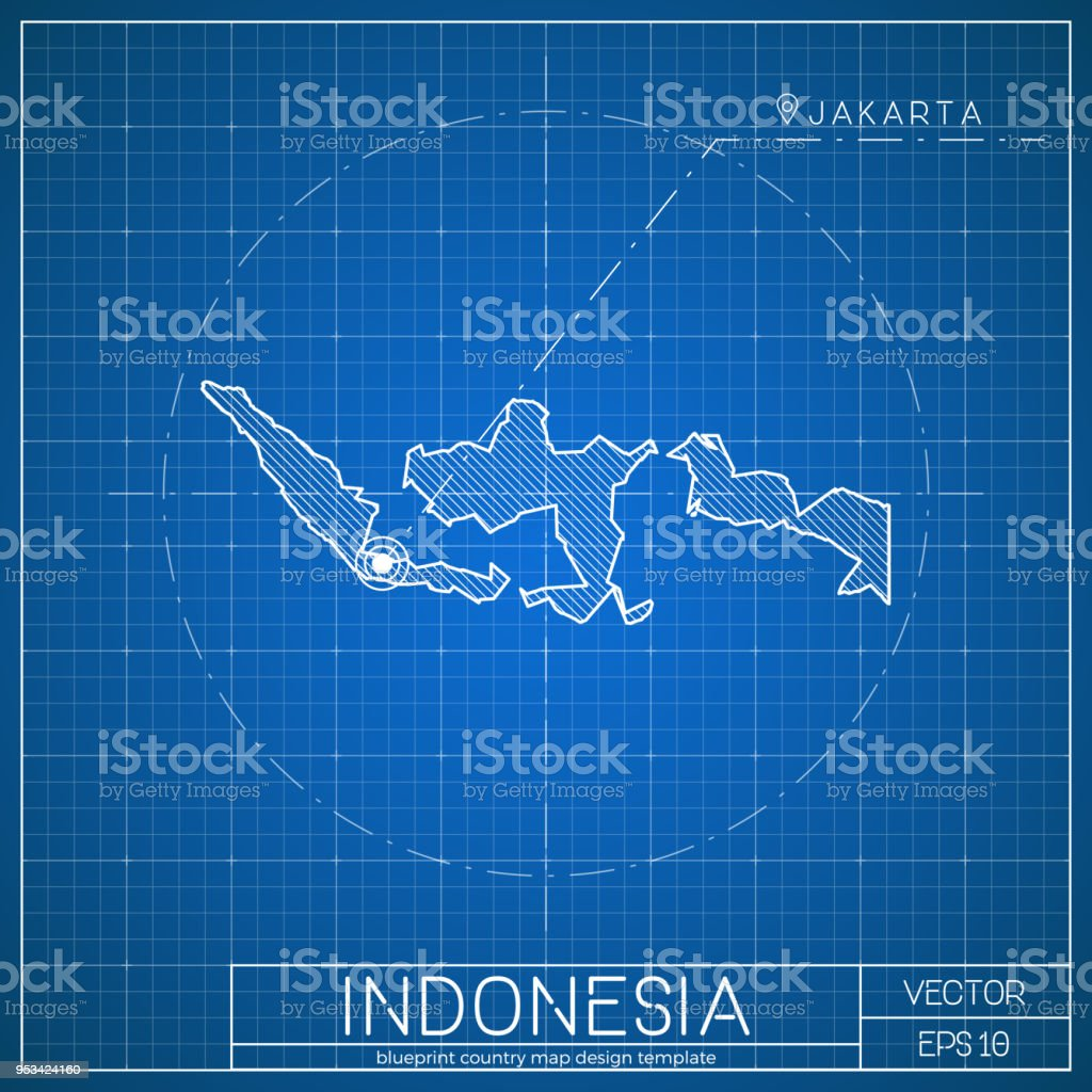 Indonesia blueprint map template with capital city stock vector art indonesia blueprint map template with capital city royalty free indonesia blueprint map template with malvernweather Images
