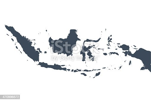 A graphic illustrated vector image showing the outline of the country Indonesia. The outline of the country is filled with a dark navy blue colour and is on a plain white background. The border of the country is a detailed path.