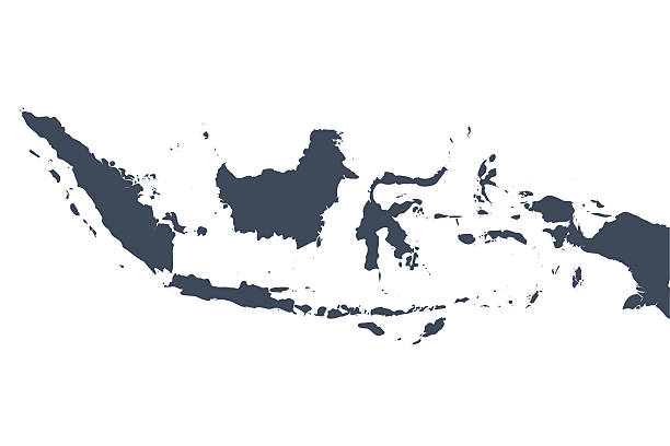Indonesia country map A graphic illustrated vector image showing the outline of the country Indonesia. The outline of the country is filled with a dark navy blue colour and is on a plain white background. The border of the country is a detailed path.  indonesia stock illustrations