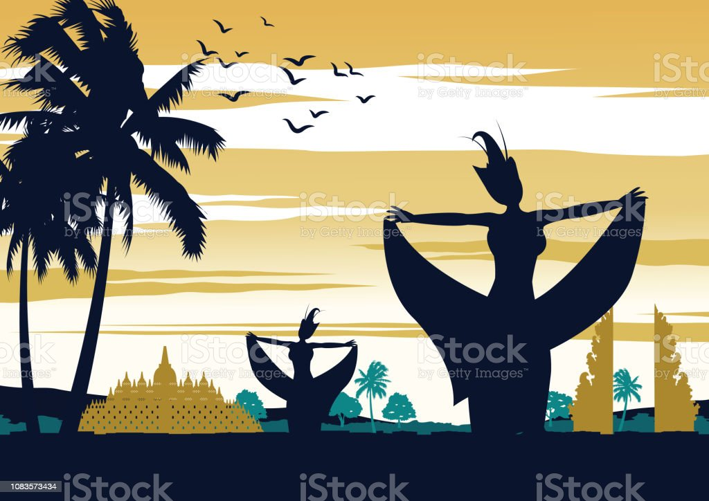 Indonesia dance show on sunset time,famous performance in front of landmark,vintage color design vector art illustration