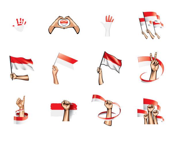 stockillustraties, clipart, cartoons en iconen met indonesië vlag en hand op witte achtergrond. vector illustratie - indonesische vlag