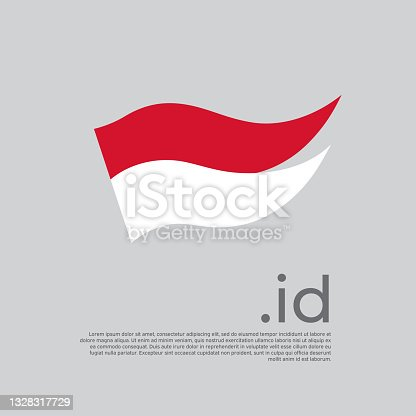 istock Indonesia flag. Colored stripes indonesian flag on a white background. Vector design of national poster with id domain, place for text. Brush strokes. State patriotic banner indonesia, cover 1328317729