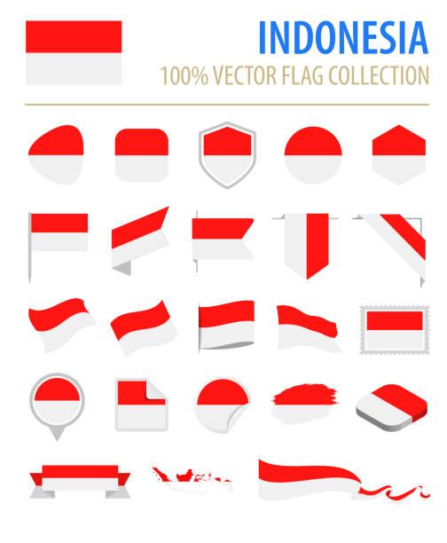 stockillustraties, clipart, cartoons en iconen met indonesië - vlag platte vector pictogramserie - indonesische vlag