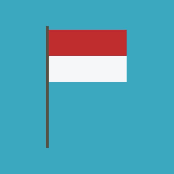 stockillustraties, clipart, cartoons en iconen met het pictogram van de vlag van indonesië in platte ontwerp - indonesische vlag