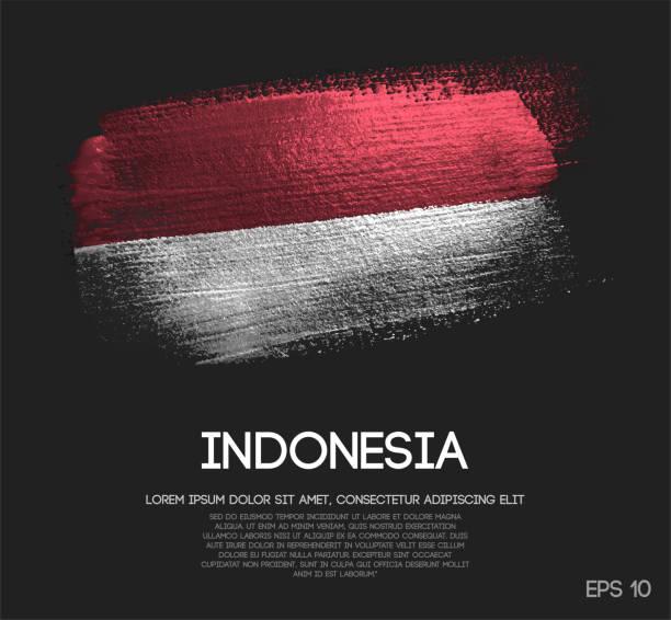 stockillustraties, clipart, cartoons en iconen met vlag van indonesië gemaakt van glitter sparkle brush verf vector - indonesische vlag