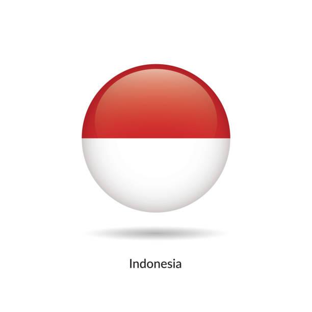 stockillustraties, clipart, cartoons en iconen met vlag van indonesië - ronde glanzende knop - indonesische vlag