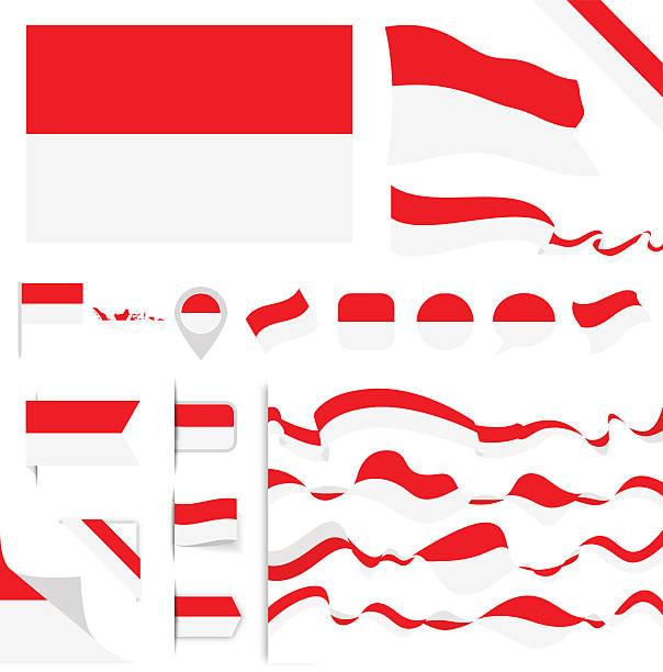 stockillustraties, clipart, cartoons en iconen met indonesia flag set - indonesische cultuur