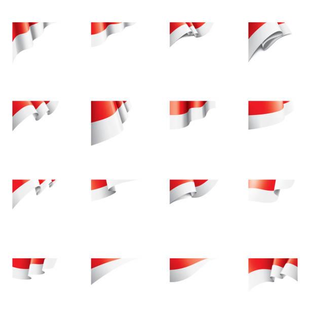 stockillustraties, clipart, cartoons en iconen met vlag van indonesië, vectorillustratie op een witte achtergrond - indonesische vlag