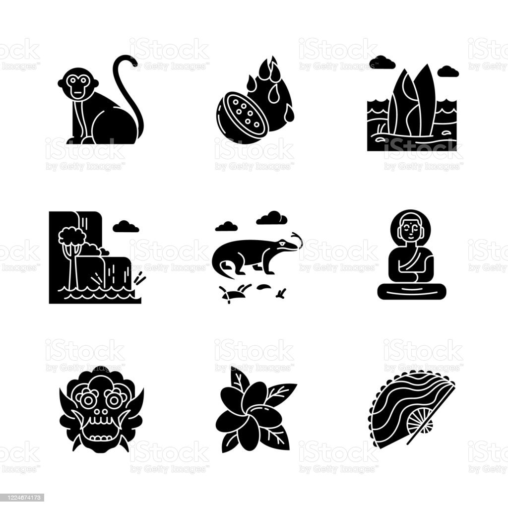 Indonesia Glyph Icons Set Tropical Animals Trip To Indonesian Islands Exotic Culture Unique Fruits And Plants Nature And Landmarks Silhouette Symbols Vector Isolated Illustration Stock Illustration Download Image Now Istock
