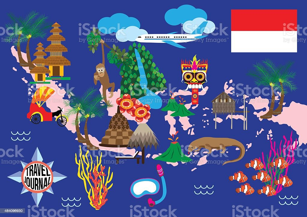Indonesia Guide Map Stock Vector Art More Images of 2015 484096930