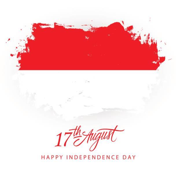 stockillustraties, clipart, cartoons en iconen met indonesië happy independence day, 17 augustus wenskaart met indonesische vlag borstel beroerte achtergrond en belettering van de hand. - indonesische vlag