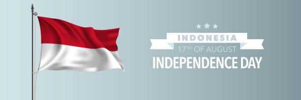 stockillustraties, clipart, cartoons en iconen met indonesië happy independence day wenskaart, banner vector illustratie - indonesische vlag