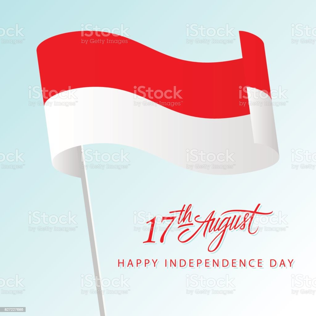 Indonesia happy independence day greeting card with waving indonesia happy independence day greeting card with waving indonesian national flag and hand lettering text design m4hsunfo