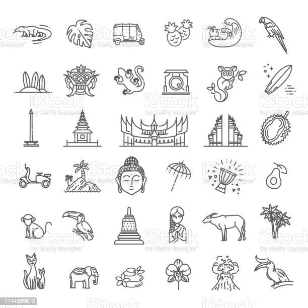 Indonesia icons set attractions line design tourism in indonesia vector id1144599612?b=1&k=6&m=1144599612&s=612x612&h=bosawerlsjkcmbvcn31n8ovbcbsr7mcnrcbol7eqws8=
