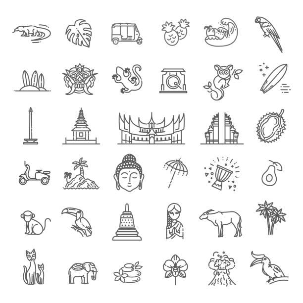 인도네시아 아이콘을 설정 합니다. 관광 명소, 라인 디자인입니다. 인도네시아, 고립 된 벡터 일러스트 레이 션의 관광. 기존 기호 - 자카르타 stock illustrations