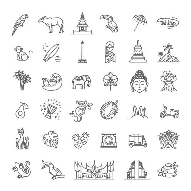인도네시아 아이콘 세트입니다. 관광 명소, 라인 디자인. 인도네시아 관광, 고립 된 벡터 일러스트레이션. 전통적인 기호 - 자카르타 stock illustrations