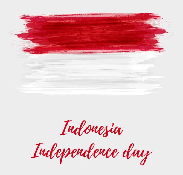 stockillustraties, clipart, cartoons en iconen met indonesië onafhankelijkheid dag achtergrond - indonesische vlag