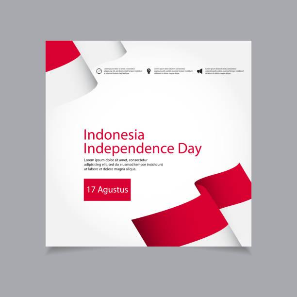 stockillustraties, clipart, cartoons en iconen met indonesië independence day viering vector sjabloonontwerp illustratie - indonesische vlag