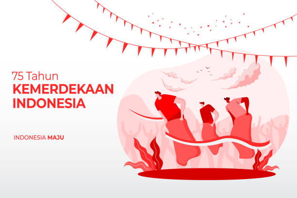 indonesia independence day greeting card with traditional games 75 vector