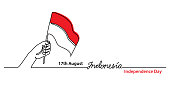 Indonesia independence day simple web banner, background with flag and hand. One continuous line drawing with lettering Indonesia.