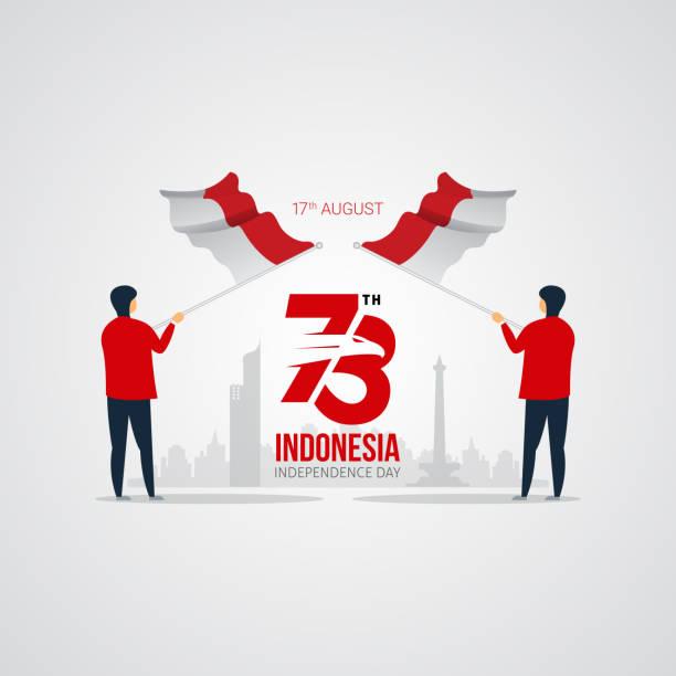 stockillustraties, clipart, cartoons en iconen met dag van de onafhankelijkheid van indonesië vector design - indonesische vlag