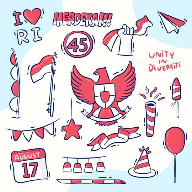 stockillustraties, clipart, cartoons en iconen met indonesië onafhankelijkheidsdag - indonesische cultuur