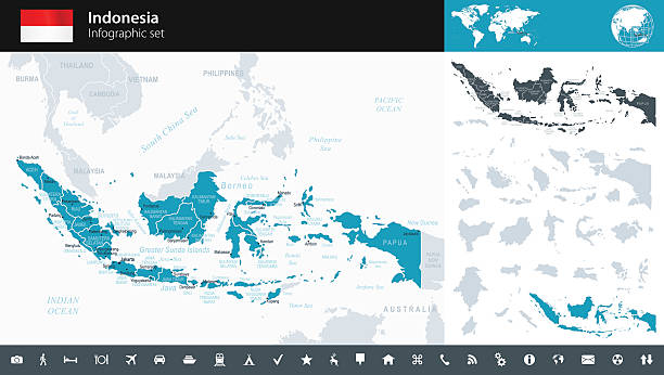Indonesia - Infographic map - illustration Vector maps of Indonesia with variable specification and icons indonesia stock illustrations