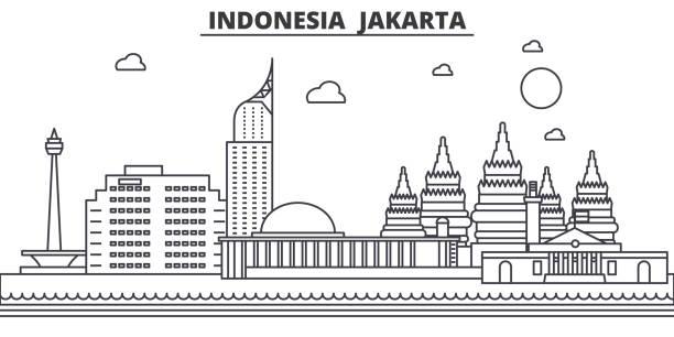인도네시아, 자카르타 건축 선 스카이 라인 일러스트입니다. 유명한 랜드마크, 시티 명소와 선형 벡터 풍경 디자인 아이콘. 편집 가능한 선 프리 - 자카르타 stock illustrations