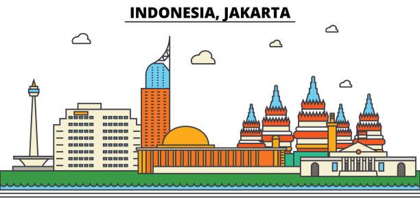 인도네시아, 자카르타입니다. 도시 스카이 라인 건축, 건물, 거리, 실루엣, 풍경, 파노라마, 랜드마크. 편집 가능한 스트로크입니다. 평면 디자인 라인 벡터 일러스트 레이 션 개념입니다. 격리 된 아이콘 세트 - 자카르타 stock illustrations