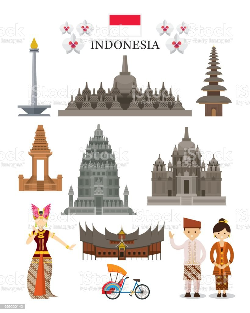 Indonesia Landmarks and Culture Object Set vector art illustration