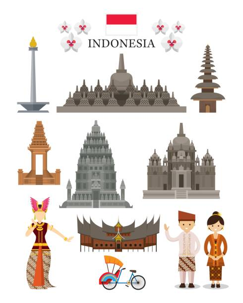 Indonesia Landmarks and Culture Object Set National Symbol and Architecture, Travel and Tourist Attraction indonesia stock illustrations