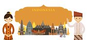 Indonesia Landmarks and people in Traditional Clothing