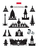Indonesia Landmarks Architecture Building Object Set
