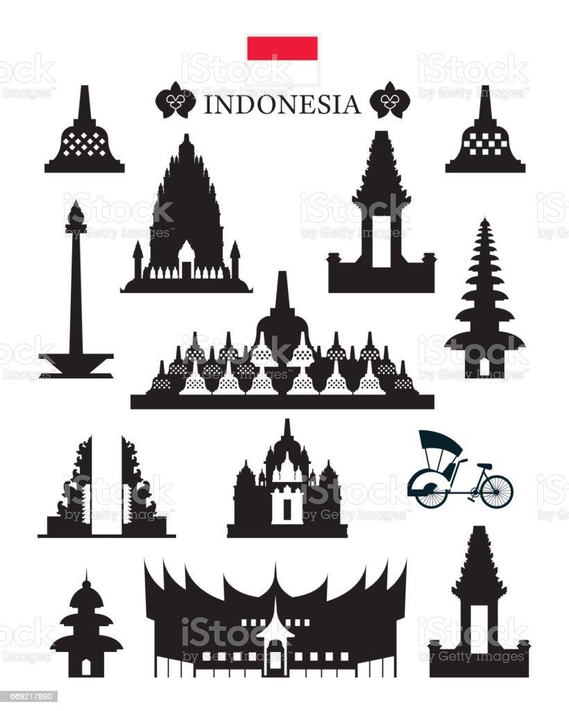 Indonesia Landmarks Architecture Building Object Set vector art illustration
