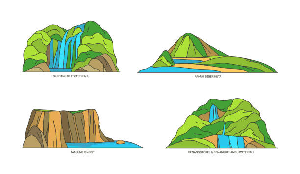 Indonesia landmarks, Bali, Lombok islands in line Indonesia nature landmarks and travel landscapes, vector flat icons. Indonesian famous natural landmarks of Bali and Lombok island, Sendang Gile waterfall and Tanjung Ringgit beach lagbok stock illustrations