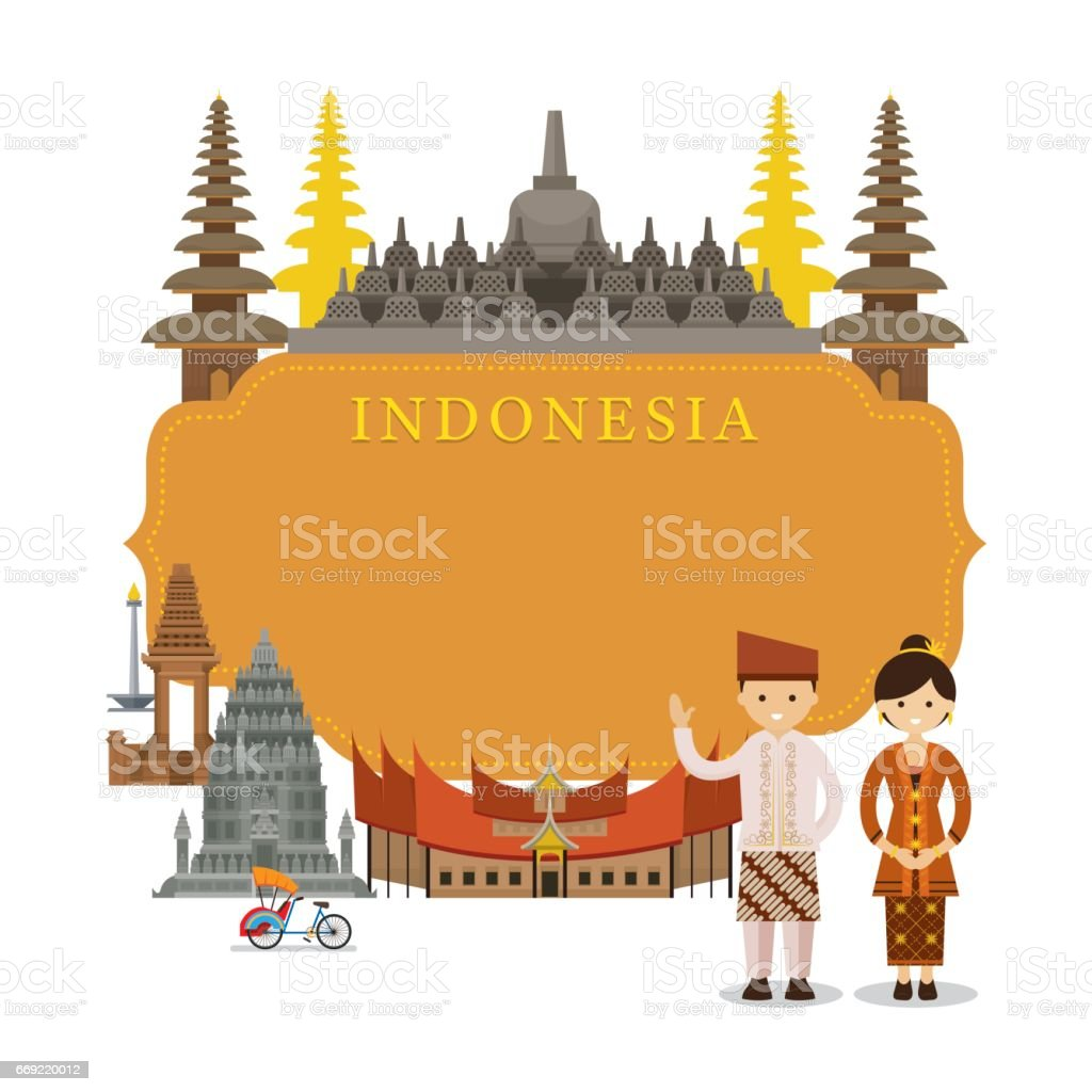 Indonesia Landmarks, People in Traditional Clothing, Frame vector art illustration