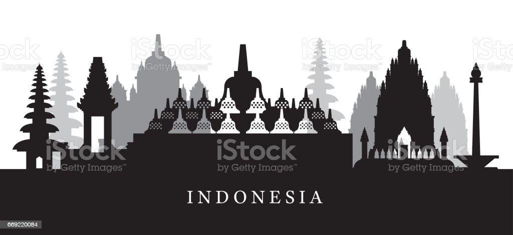 Indonesia Landmarks Skyline in Black and White Silhouette vector art illustration