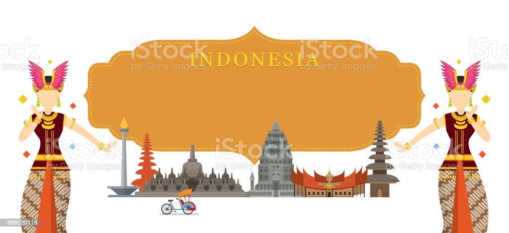 Indonesia Landmarks, Traditional Dance, Frame vector art illustration