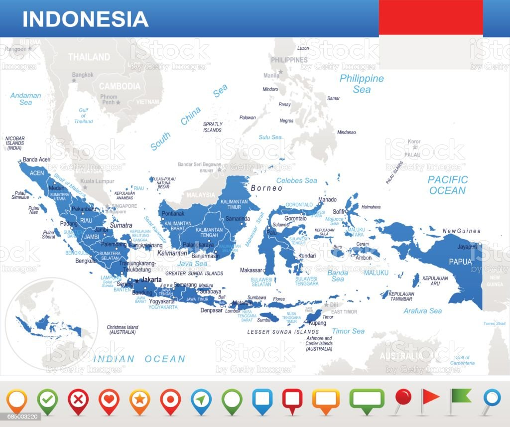 Indonesien Karte.Indonesien Karte Und Flagge Illustration Stock Vektor Art