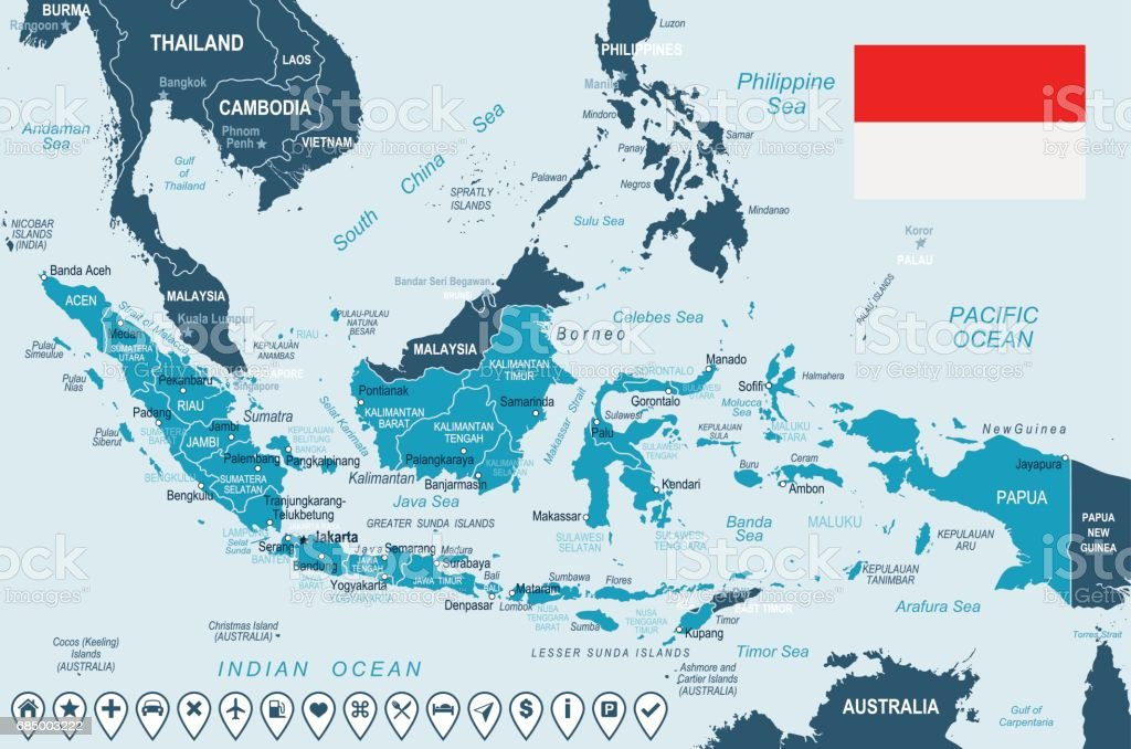 Indonesia map and flag illustration stock vector art 685003222 bali bandung indonesia jakarta map sciox Gallery