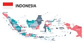 Indonesia - map and flag – illustration