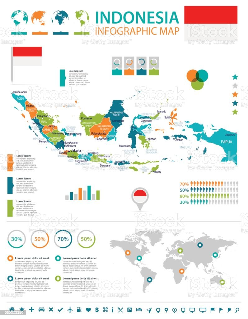 Indonesien Karte.Indonesien Karte Und Flagge Infografik Illustration Stock Vektor Art